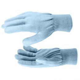 Одежда - Перчатки трикотажные, акрил, двойные, цвет зенит, двойная манжета Россия..., 0