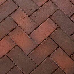 Тротуарная плитка, бордюр - Клинкерная нескользкая долговечная брусчатка темно-красный флэш, 0
