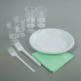Наборы для пикника - Набор одноразовой посуды «Праздничный», 6 персон, цвет МИКС, 0