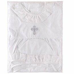 """Крестильная одежда - Крестильный набор для мальчика """"Наша мама"""" (пеленка/рубашка/чепчик, рост 80 см), 0"""