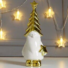 Новогодние фигурки и сувениры - Сувенир керамика 'Дедушка Мороз в колпаке-ёлочке, со звёздочкой' золото 23,8х..., 0