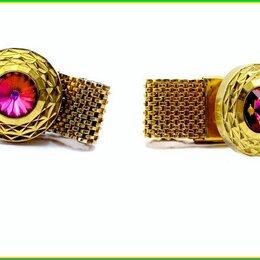 Запонки и зажимы - ЗАПОНКИ ВИНТАЖНЫЕ :: имитация ТУРМАЛИНА цветное ювелирное стекло позолота 48,2гр, 0