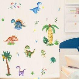 Интерьерные наклейки - Наклейка пластик интерьерная цветная 'Малыши динозавры' 30х90 см набор 2 листа, 0