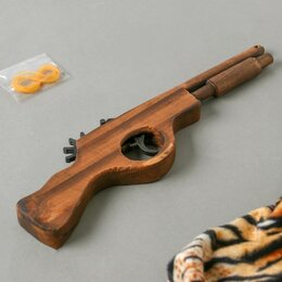 Игрушечное оружие и бластеры - Игрушка деревянная стреляет резинками «Пистолет» 2,2?27?8 см, 0