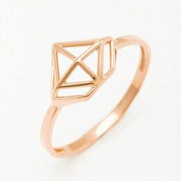 Кольца и перстни - Кольцо из золота 585 пробы без вставок в форме алмаза новое, 0