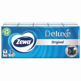 Бумажные салфетки, носовые платки - Платки носовые ZEWA Delux, 3-х слойные, 10 шт. х (спайка 10 пачек), 51174, 0