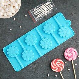 Формы для льда и десертов - Форма для леденцов Доляна «Ромашка», 9,5×24×1 см, 6 ячеек, с палочками, цвет ..., 0