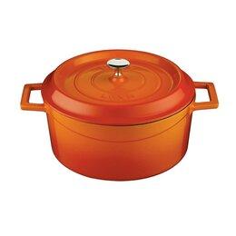 Кастрюли и ковши - Чугунная эмалированная кастрюля 4.49 л, 24 см, оранжевый, 0