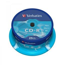 Прочие аксессуары - Verbatim Диск CD-R.VERBATIM 700Mb 52х CB25, 0