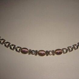 Браслеты - Браслет мельхиор с розовым кварцем винтаж 70 х годов, 0