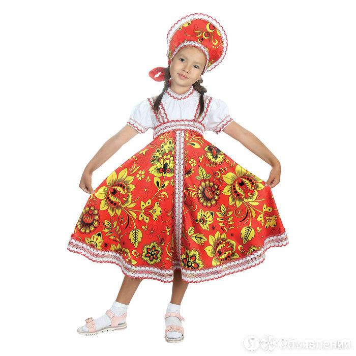 """Русский народный костюм """"Хохлома"""", платье, кокошник, цвет красный, р-р 36, ро... по цене 2810₽ - Карнавальные и театральные костюмы, фото 0"""