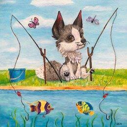 Гравюры, литографии, карты - Волк  иллюстрации для детей / Рыбачок  , 0