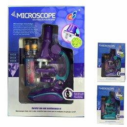 Детские микроскопы и телескопы - Наша Игрушка Микроскоп детский 100х увеличение, 3 объектива, аксессуары, эл.п..., 0