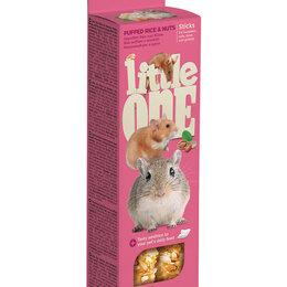 Игрушки и декор  - LITTLE ONE Палочки для хомяков, крыс, мышей и песчанок с возд.рисом и орехами, 0