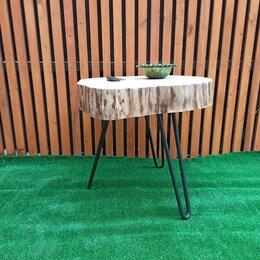 Столы и столики - журнальный стол в стиле лофт из торцевого спила Ивы , 0