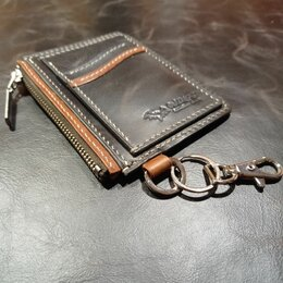 Кошельки - Кардхолдер с монетницей из кожи ручной работы, 0
