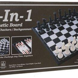 Настольные игры - Настольная игра 3в1 Шахматы, шашки, нарды на магнитах, 0