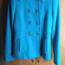 Пальто - Пальто бирюзового цвета двубортное, 0