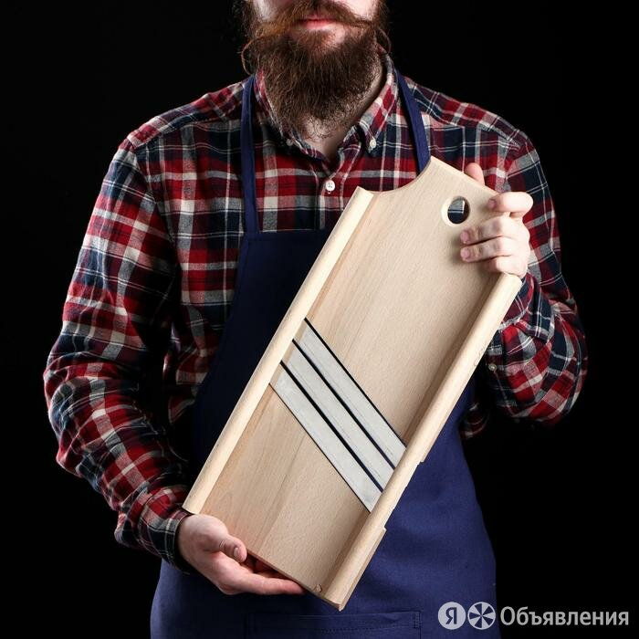 Шинковка деревянная 'Премиум', 3 лезвия, нержавеющая сталь, 20 х 45 см, масси... по цене 1549₽ - Прочая техника, фото 0