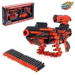 Игрушечное оружие и бластеры - Скорострельный бластер Maxigun, с патронной лентой, стреляет мягкими пулями, 0