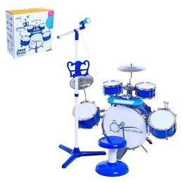 Ударные установки и инструменты - Барабанная установка «Настоящий барабанщик» с пианино, стульчиком, микрофоном..., 0