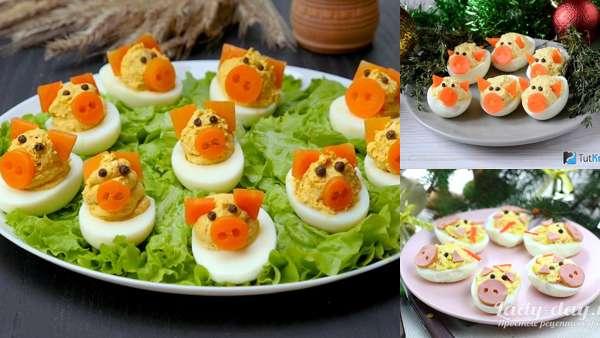 Оригинальные фаршированные яйца в форме поросят