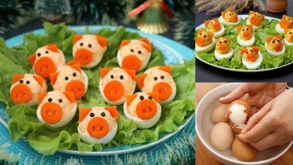 Свинка из яйца на праздничный стол - фото-инструкция