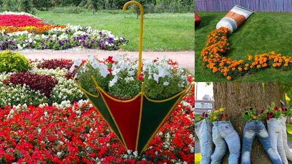 Оформление необычной цветочной клумбы