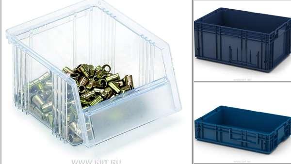 Пластиковые контейнеры и ящики для хранения на складе, производстве и в магазине