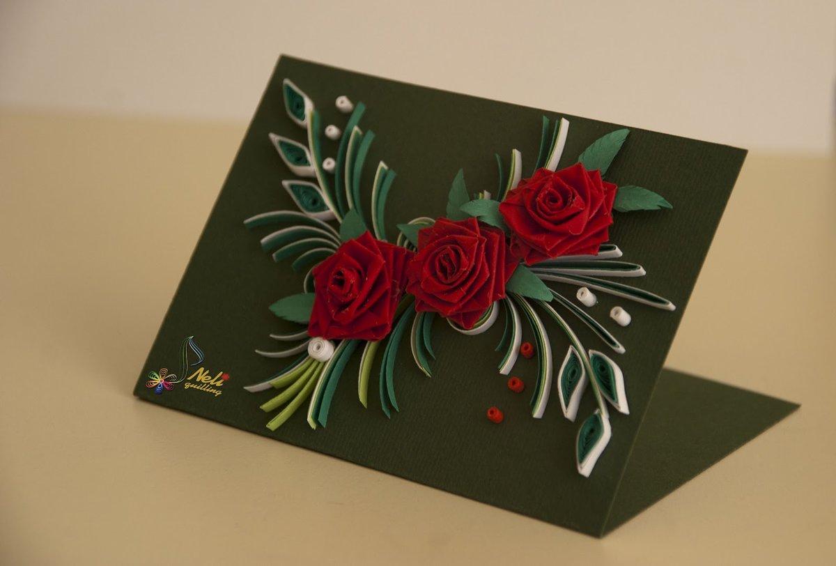 Днем рождения, открытки с розами из бумаги