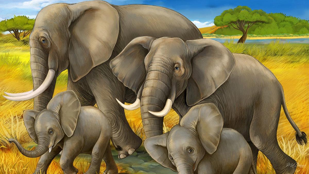 тем картинки мультяшных слонов семья этого аккуратно