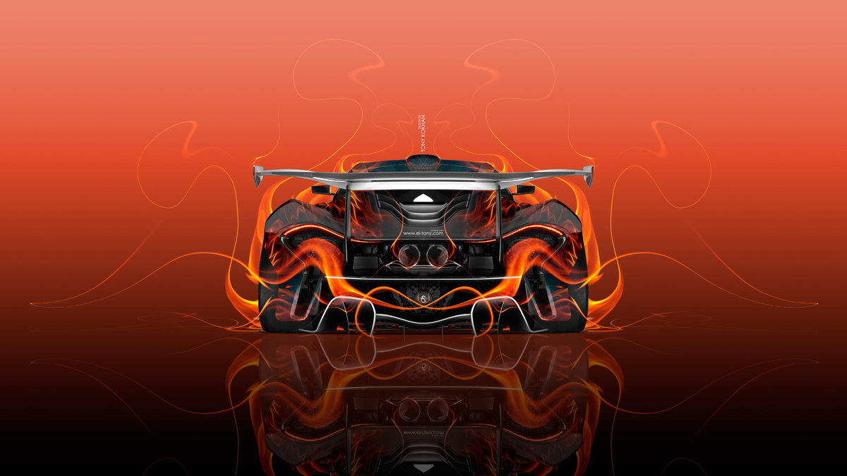 Mclaren P1 Gtr Backup Fire Flame Abstract Car 2016 Red Yellow Orange