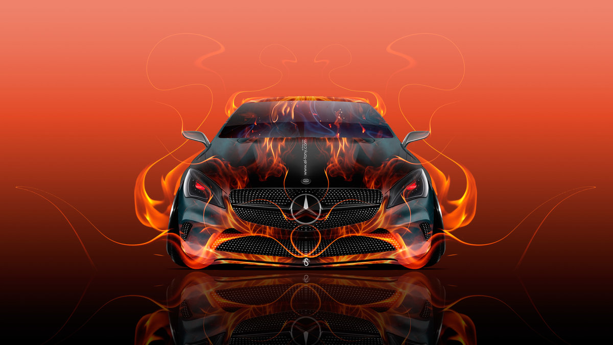 Mercedes Benz Coupe Front Fire Flame Abstract Car