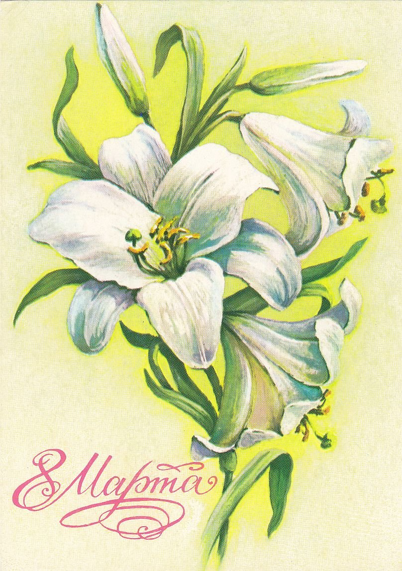 Открытка лилии с 8 мартом, формата