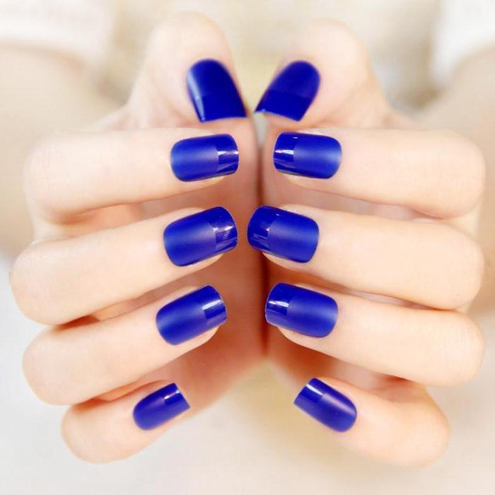Картинки ногти лак синий свет