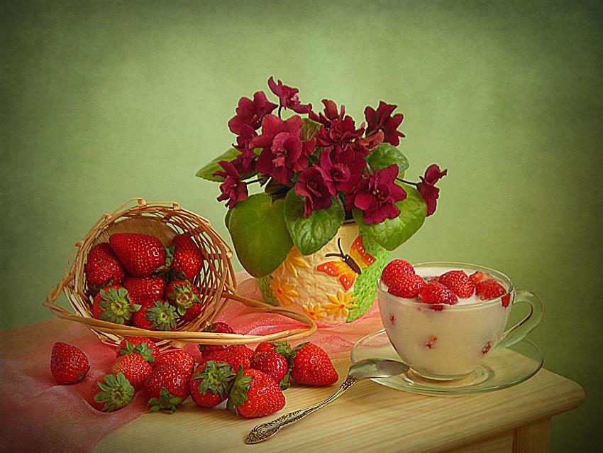 Найти открытку с добрым утром с цветами и фруктами, виде видео разослать