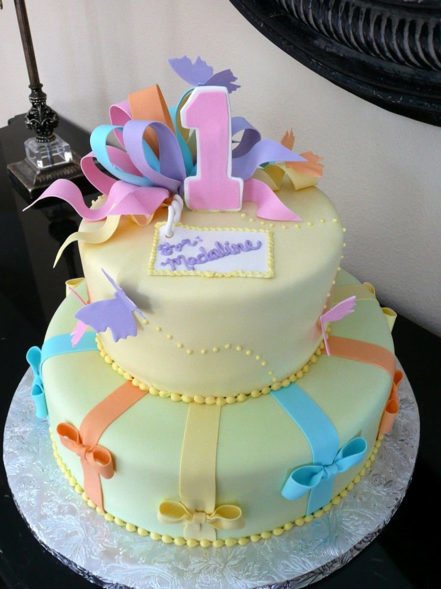 Butterfly Birthday Cake 12 And 8 Round Cakes Covered In Fondant