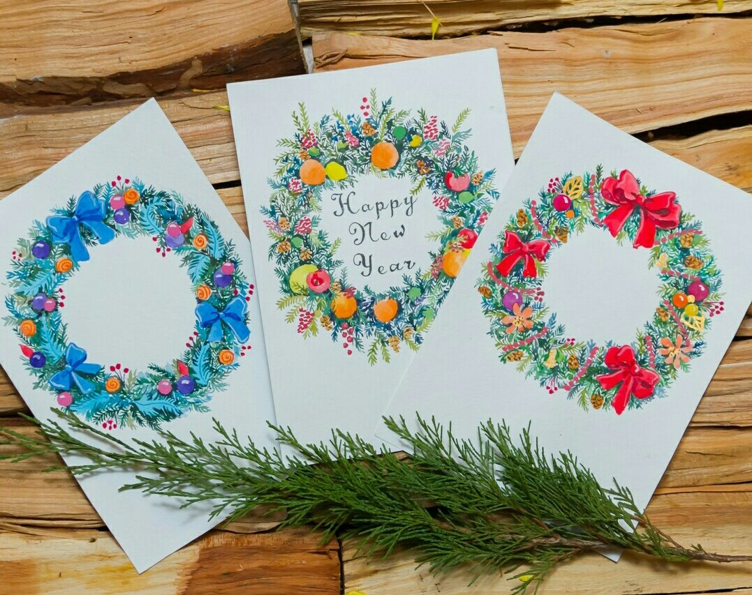 Рисунки, рисуем открытку своими руками на новый год