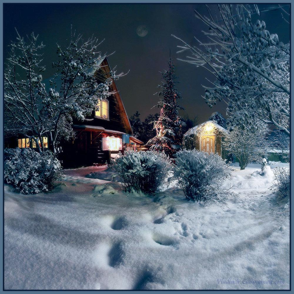 теплой зимней ночи картинки