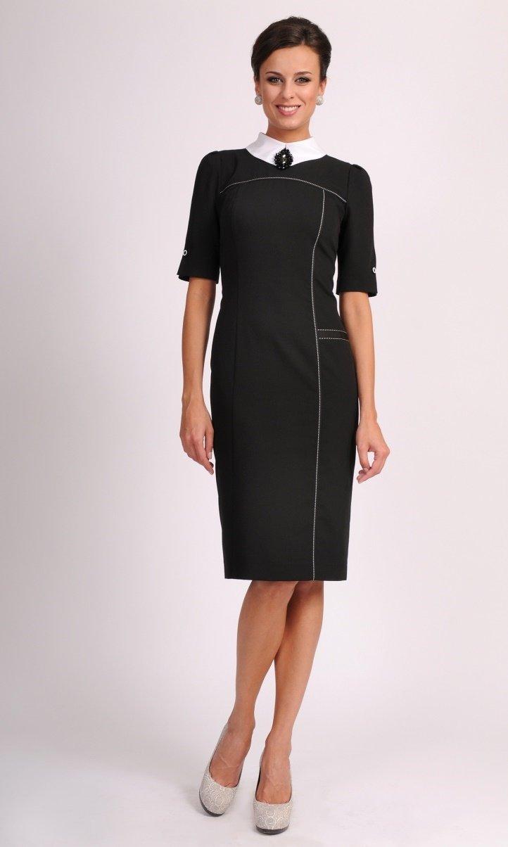 9463ab3426ed247 Черное строгое платье с белым воротником Черное строгое платье с белым  воротником