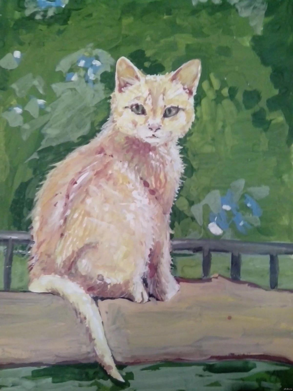 Рисунки кошки поэтапно гуашью форумов фиалки