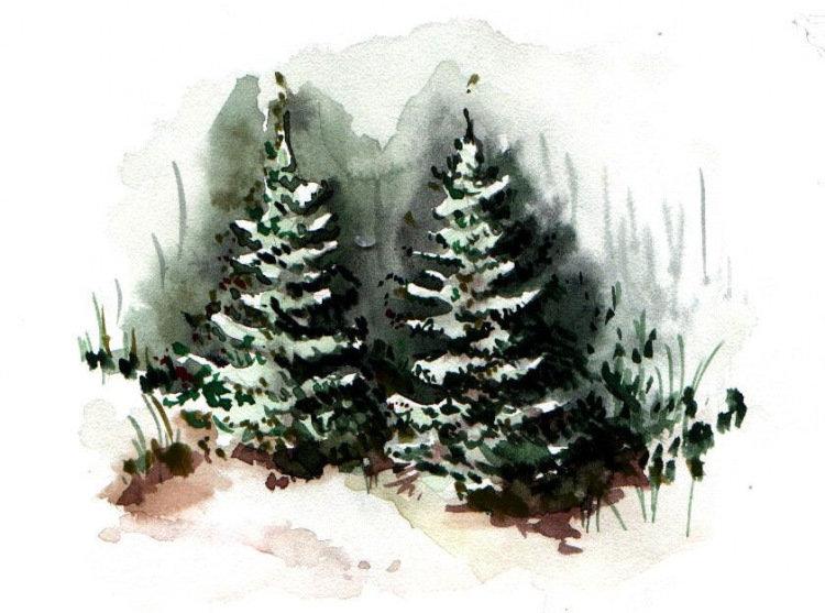Новогодние картинки с елочками нарисовать видео акварелью