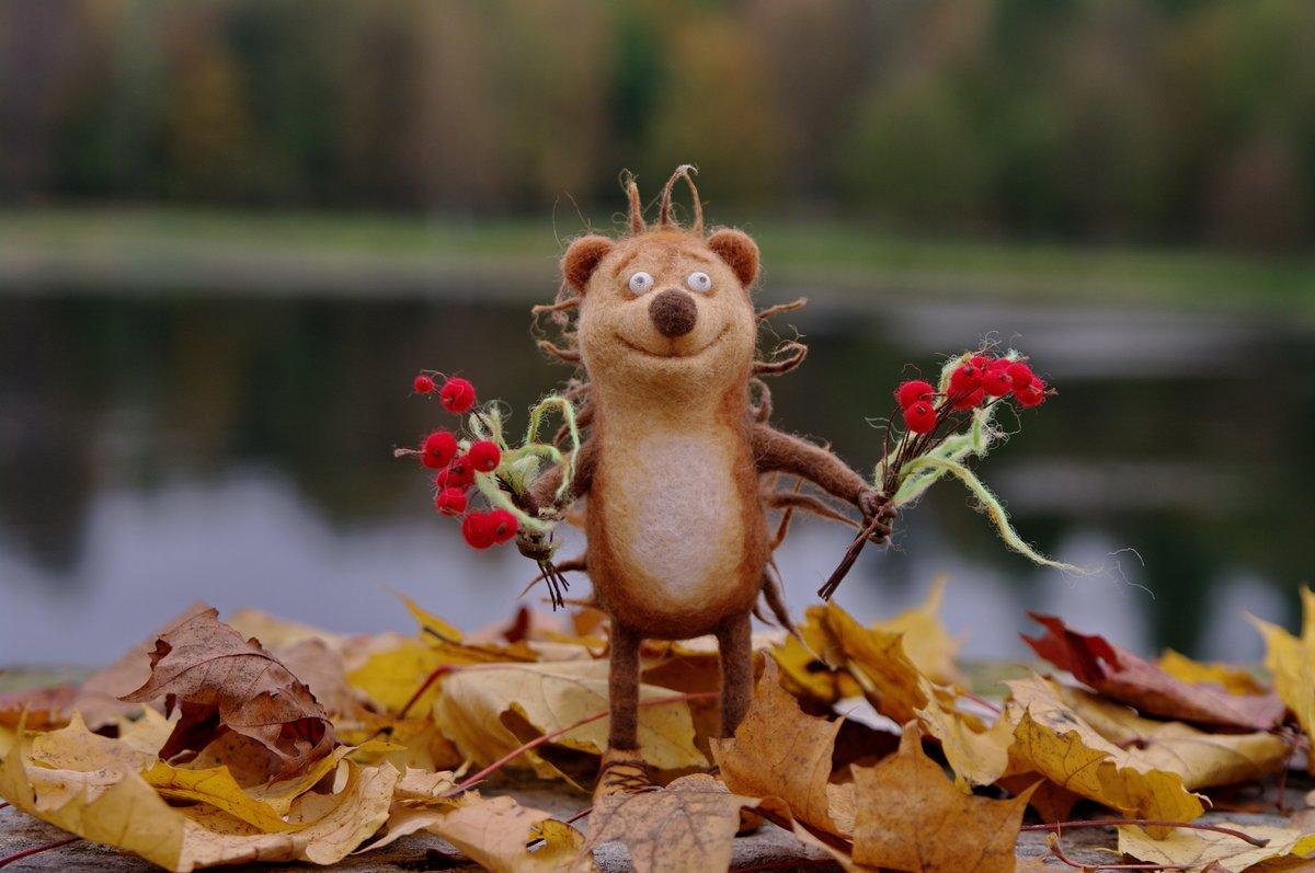 Осенние картинки с добрым утром с милыми лесными нимфами, поздравляю шарики милая