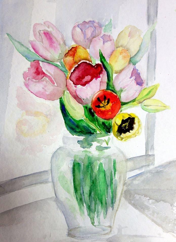 Картинки, картинки цветов в вазе для срисовки цветные