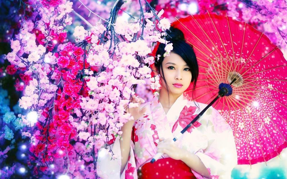Открытки, японская картинка девушки