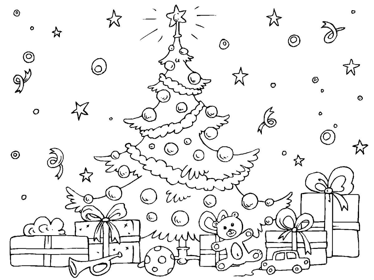 Любаши, открытка для раскрашивания новый год