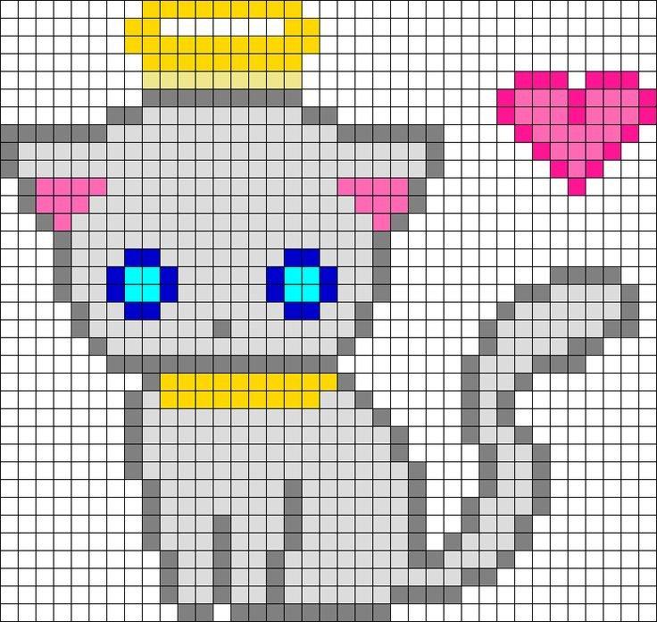Месяца, рисунки по клеточкам коты и кошки