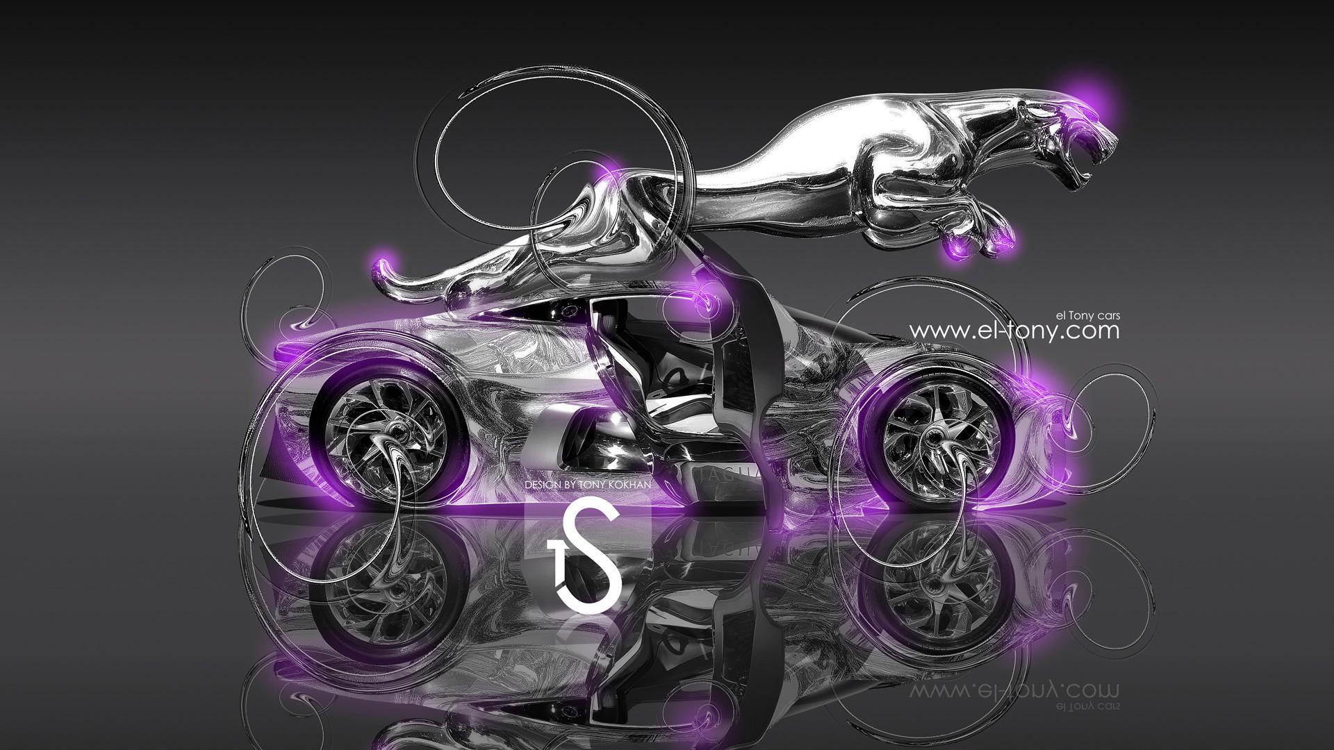 Jaguar Cx 75 Fantasy Metal Car 2013 Hd Violet Neon Wallpapers Design