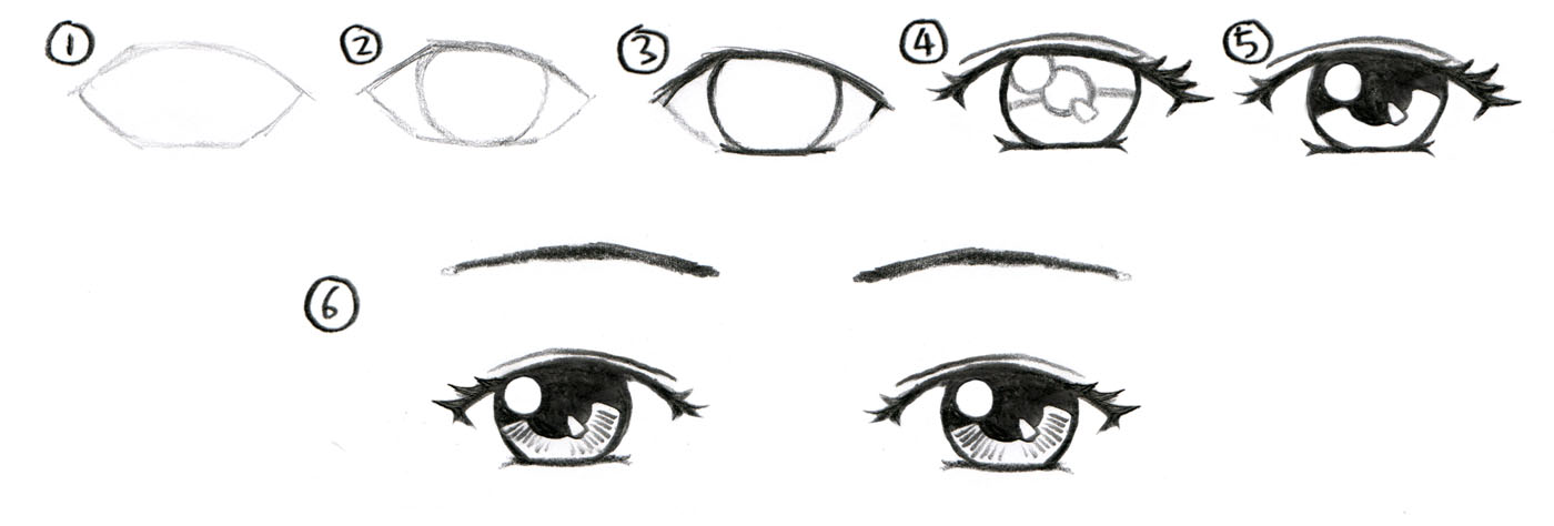 how to draw anime eyes step by step with pencil card from user