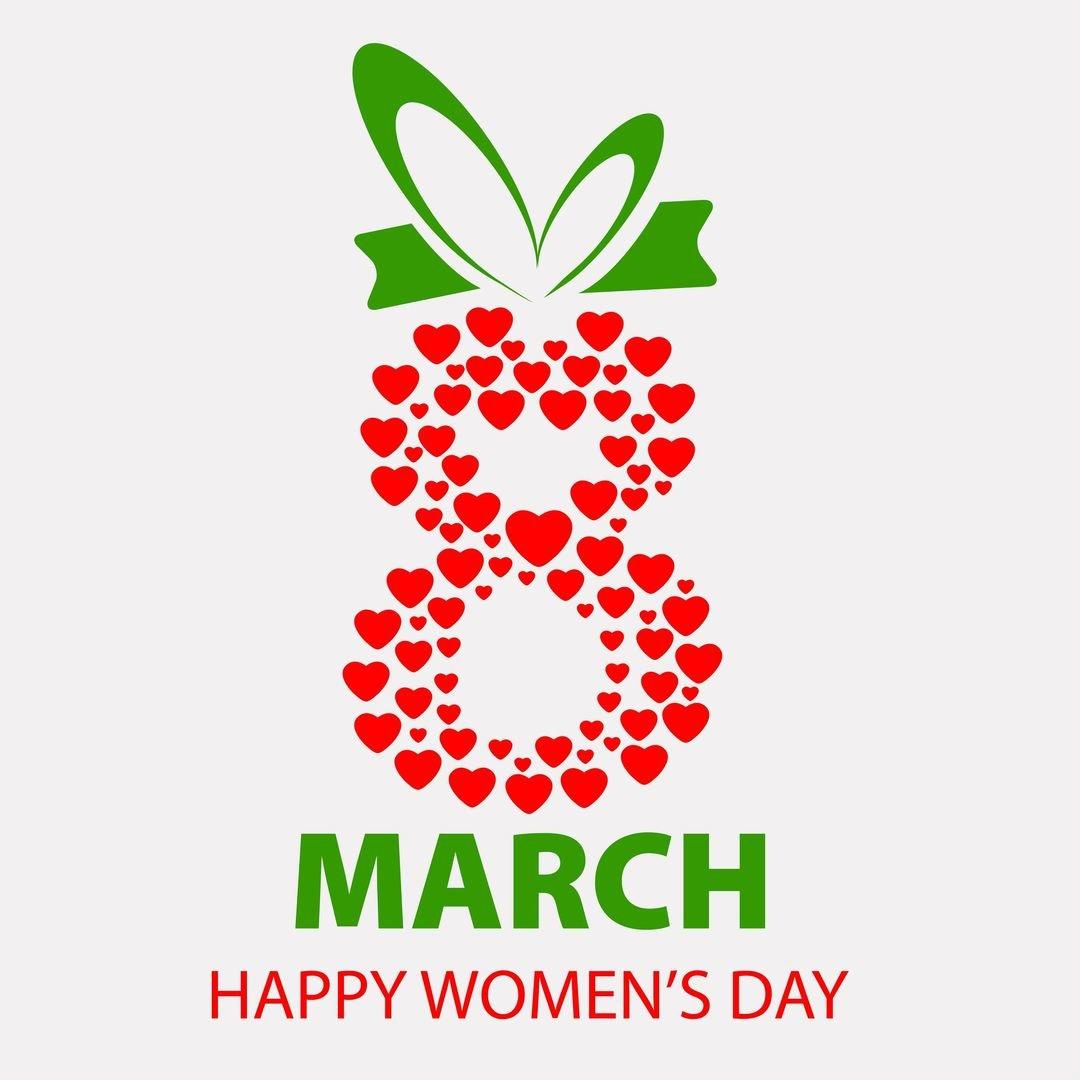 Днем, открытка на 8 марта с логотипом